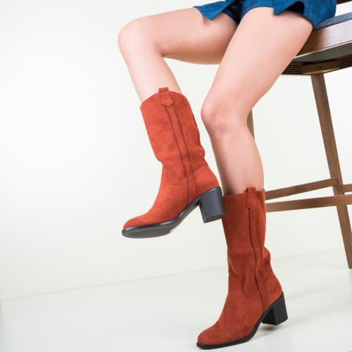 Cizme Cathy Portocalii - Cizme dama - Cizme sub genunchi