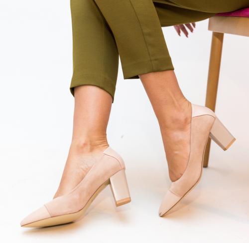 Pantofi Ajay Nude - Pantofi depurtat - Pantofi cu toc gros