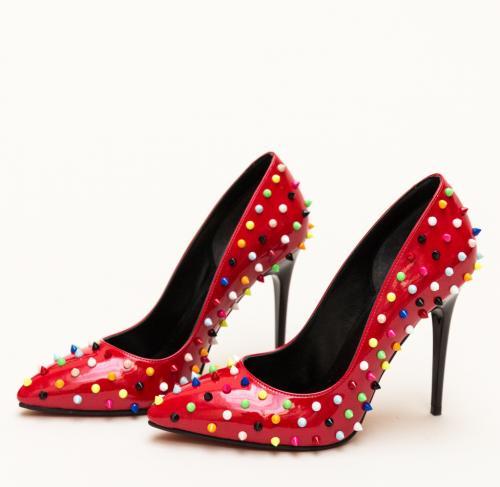 Pantofi Bonibon Rosii - Pantofi depurtat - Pantofi cu toc subtire
