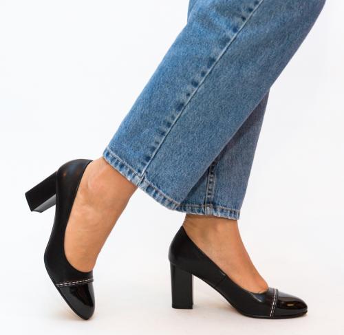 Pantofi Darla Negri - Pantofi depurtat - Pantofi cu toc gros