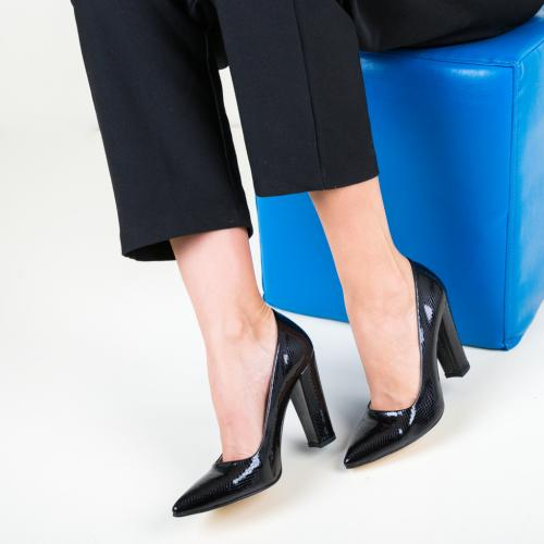 Pantofi Dekor Negri 2 - Pantofi depurtat - Pantofi cu toc gros