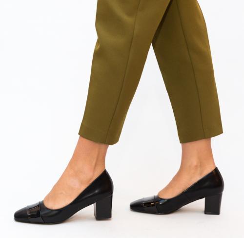 Pantofi Elif Negri 2 - Pantofi depurtat - Pantofi cu toc gros