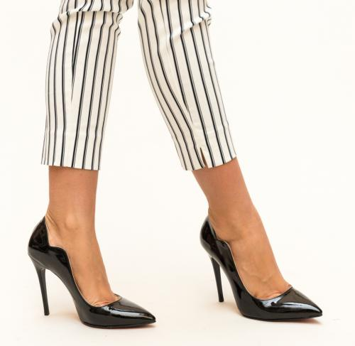 Pantofi Nitel Negri - Pantofi depurtat - Pantofi cu toc subtire