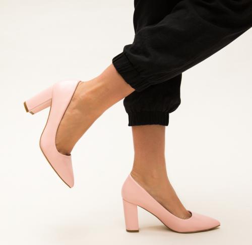 Pantofi Pauline Roz - Pantofi depurtat - Pantofi cu toc gros