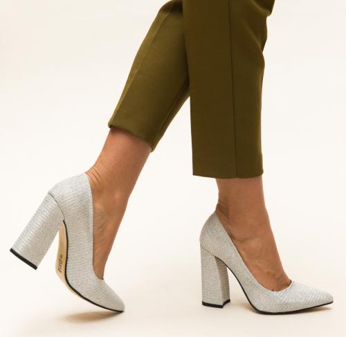 Pantofi Soreen Argintii - Pantofi depurtat - Pantofi cu toc gros