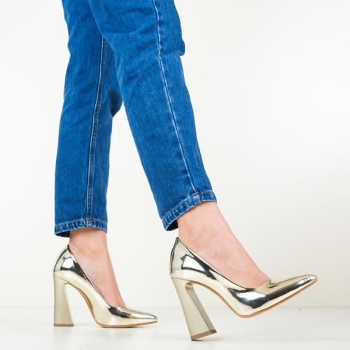 Pantofi Soreen Aurii 2 - Pantofi depurtat - Pantofi cu toc gros
