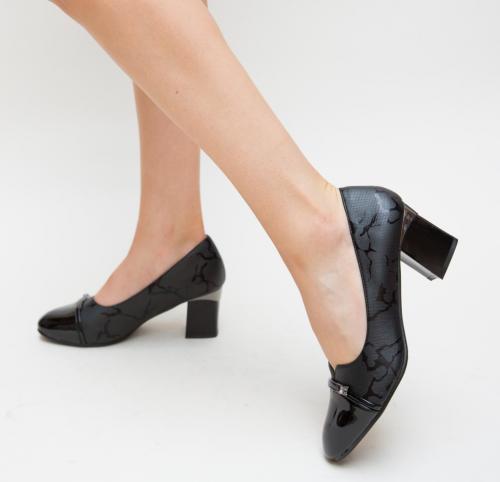 Pantofi Zano Negri - Pantofi depurtat - Pantofi cu toc gros