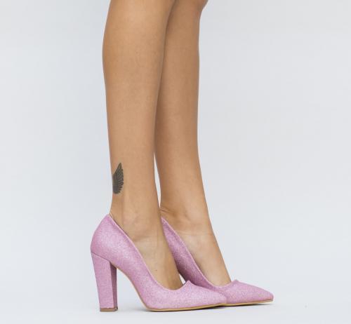 Pantofi Zizi Roz 2 - Pantofi depurtat - Pantofi cu toc gros