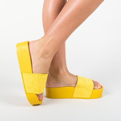Papuci Escar Galbeni - Sandale depurtat - Slapi