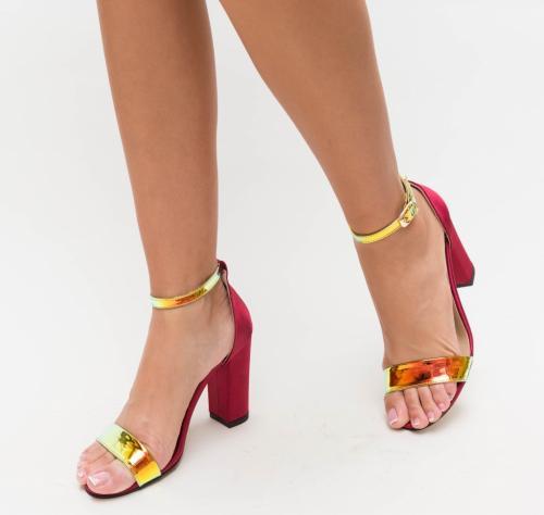 Sandale Kilia Grena - Sandale depurtat - Sandale cu toc gros